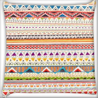 Snoogg Sketch aztec Digitally Printed Cushion Cover Pillow 16 x 16 Inch