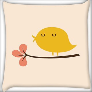 Snoogg Bird Life Minimal Digitally Printed Cushion Cover Pillow 16 x 16 Inch