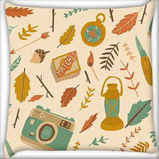 Snoogg Traveller pattern Digitally Printed Cushion Cover Pillow 16 x 16 Inch