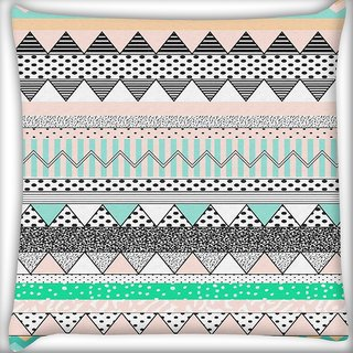 Snoogg Polka wave aztec Digitally Printed Cushion Cover Pillow 16 x 16 Inch