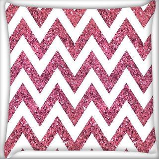 Snoogg Chevron pinks Digitally Printed Cushion Cover Pillow 16 x 16 Inch