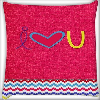 Snoogg I love you minimal Digitally Printed Cushion Cover Pillow 16 x 16 Inch