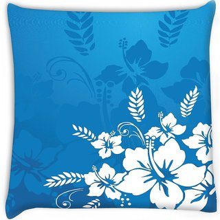 Snoogg  abstract vector wallpaper of floral themes in blue  Digitally Printed Cushion Cover Pillow 16 x 16 Inch