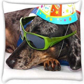 Snoogg  a dogs life having fun at a party  Digitally Printed Cushion Cover Pillow 16 x 16 Inch