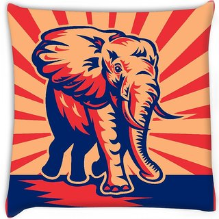 Snoogg  african bull elephant charging Digitally Printed Cushion Cover Pillow 16 x 16 Inch