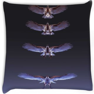 Snoogg  eagles Digitally Printed Cushion Cover Pillow 16 x 16 Inch