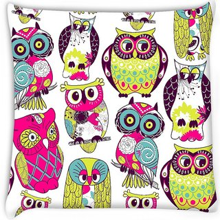 Snoogg  eamless owl pattern Digitally Printed Cushion Cover Pillow 16 x 16 Inch
