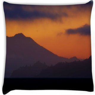 Snoogg  evening landscape background Digitally Printed Cushion Cover Pillow 16 x 16 Inch