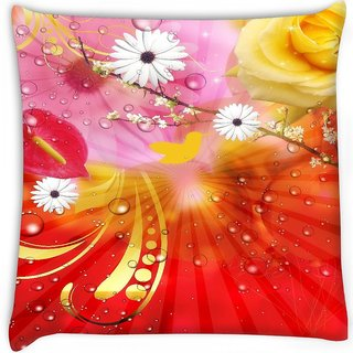 Snoogg  fantasy flowers background Digitally Printed Cushion Cover Pillow 16 x 16 Inch
