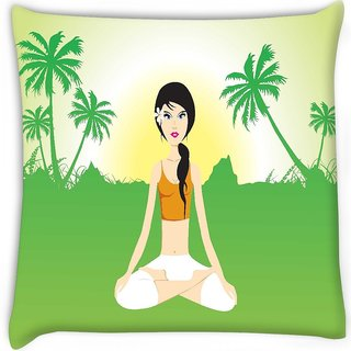 Snoogg  female doing yoga on green invirement Digitally Printed Cushion Cover Pillow 16 x 16 Inch