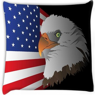 Snoogg  flag background with eagle  Digitally Printed Cushion Cover Pillow 16 x 16 Inch