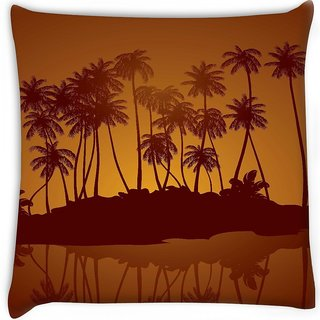 Snoogg  tropical night vector background Digitally Printed Cushion Cover Pillow 16 x 16 Inch