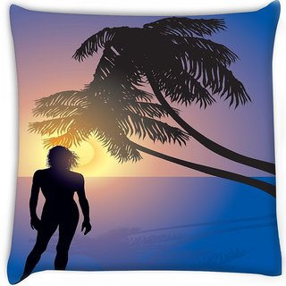 Snoogg  tropical sunrise Digitally Printed Cushion Cover Pillow 16 x 16 Inch