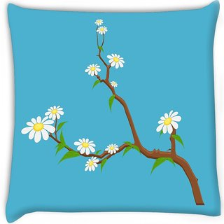 Snoogg  white flowers branches Digitally Printed Cushion Cover Pillow 16 x 16 Inch