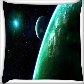 Snoogg Whole Galaxy Digitally Printed Cushion Cover Pillow 16 x 16 Inch