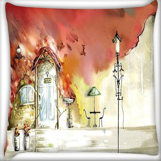 Snoogg Open Door Digitally Printed Cushion Cover Pillow 16 x 16 Inch