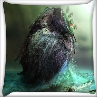 Snoogg House In Sea Digitally Printed Cushion Cover Pillow 16 x 16 Inch