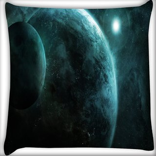 Snoogg Moon View Digitally Printed Cushion Cover Pillow 16 x 16 Inch