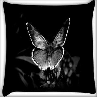 Snoogg Black And White Nature Digitally Printed Cushion Cover Pillow 16 x 16 Inch