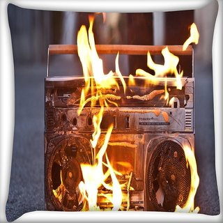Snoogg Boombox In Fire Photography Digitally Printed Cushion Cover Pillow 16 x 16 Inch