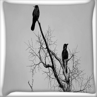 Snoogg Black Crow Birds Digitally Printed Cushion Cover Pillow 16 x 16 Inch
