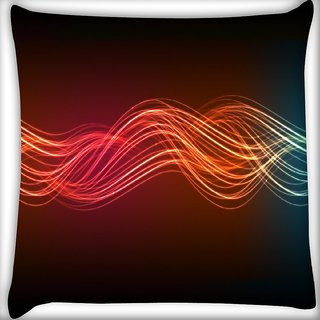 Snoogg Neon Lines Digitally Printed Cushion Cover Pillow 16 x 16 Inch