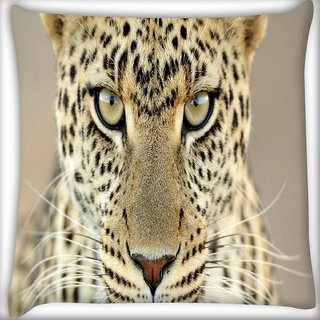 Snoogg Tanzania Leopard Digitally Printed Cushion Cover Pillow 16 x 16 Inch