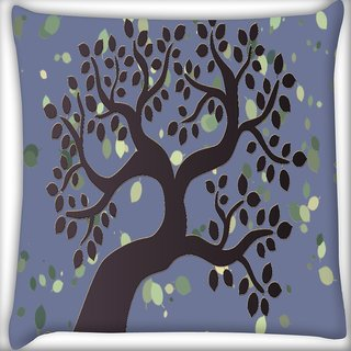 Snoogg Brown Tree Digitally Printed Cushion Cover Pillow 16 x 16 Inch