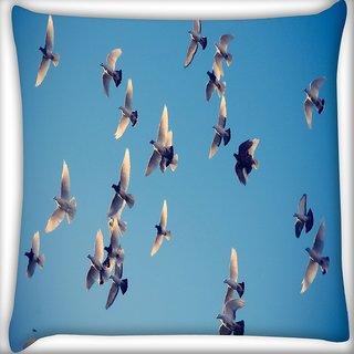 Snoogg Ubuntu Birds Digitally Printed Cushion Cover Pillow 16 x 16 Inch