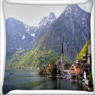 Snoogg House Near River Side Digitally Printed Cushion Cover Pillow 16 x 16 Inch