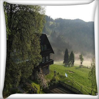 Snoogg Bunglow Near The Lake Digitally Printed Cushion Cover Pillow 16 x 16 Inch