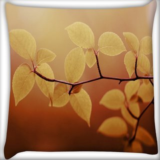Snoogg Lite Green Leaves Digitally Printed Cushion Cover Pillow 16 x 16 Inch