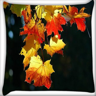 Snoogg Autumn Leaves In Trees Digitally Printed Cushion Cover Pillow 16 x 16 Inch