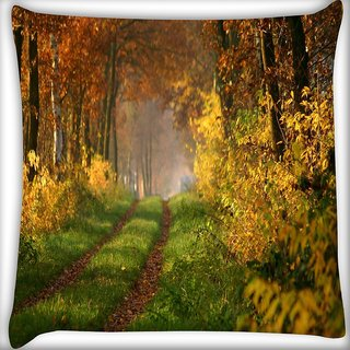 Snoogg Small Way In Forest Digitally Printed Cushion Cover Pillow 16 x 16 Inch