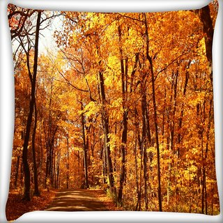 Snoogg Day Forest Digitally Printed Cushion Cover Pillow 16 x 16 Inch