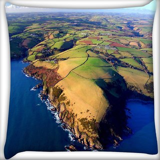 Snoogg Island Around The Ocean Digitally Printed Cushion Cover Pillow 16 x 16 Inch