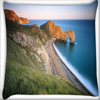 Snoogg Mountain And Large Opcean Digitally Printed Cushion Cover Pillow 16 x 16 Inch