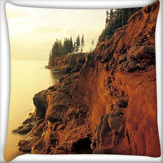 Snoogg Mountain Rocks Digitally Printed Cushion Cover Pillow 16 x 16 Inch