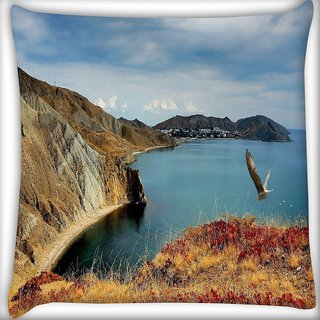 Snoogg Red Grass On Mountain Digitally Printed Cushion Cover Pillow 16 x 16 Inch