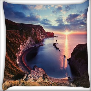 Snoogg Curve Mountain Digitally Printed Cushion Cover Pillow 16 x 16 Inch