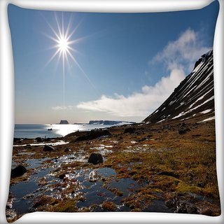 Snoogg Sunrise In The Sea Digitally Printed Cushion Cover Pillow 16 x 16 Inch