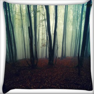 Snoogg Smoked Forest Digitally Printed Cushion Cover Pillow 16 x 16 Inch