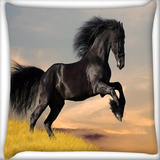 Snoogg Jumping Black Horse Digitally Printed Cushion Cover Pillow 16 x 16 Inch