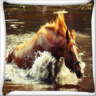 Snoogg Horse In Water Digitally Printed Cushion Cover Pillow 16 x 16 Inch