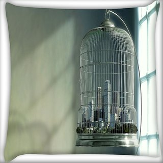 Snoogg City In A Cage Digitally Printed Cushion Cover Pillow 20 x 20 Inch