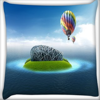 Snoogg Colorful Parchute Digitally Printed Cushion Cover Pillow 20 x 20 Inch