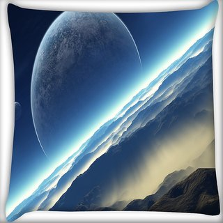 Snoogg Half Moon Digitally Printed Cushion Cover Pillow 20 x 20 Inch