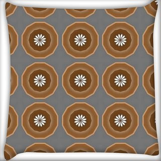 Snoogg Abstract Brown Circles Digitally Printed Cushion Cover Pillow 20 x 20 Inch
