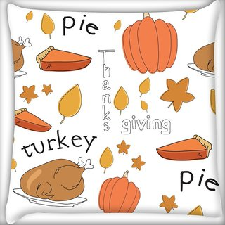 Snoogg Thanks Giving Digitally Printed Cushion Cover Pillow 20 x 20 Inch