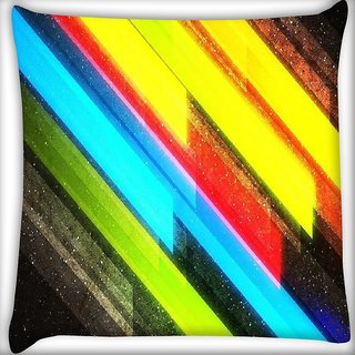 Snoogg Colourful lightning Digitally Printed Cushion Cover Pillow 16 x 16 Inch